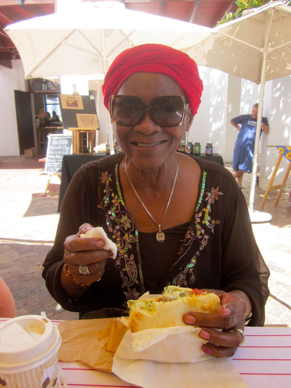 Mamma Lindy is a complete foodie. Pic of Mamma Lindy enjoying the Stellebosch Saturday food market!