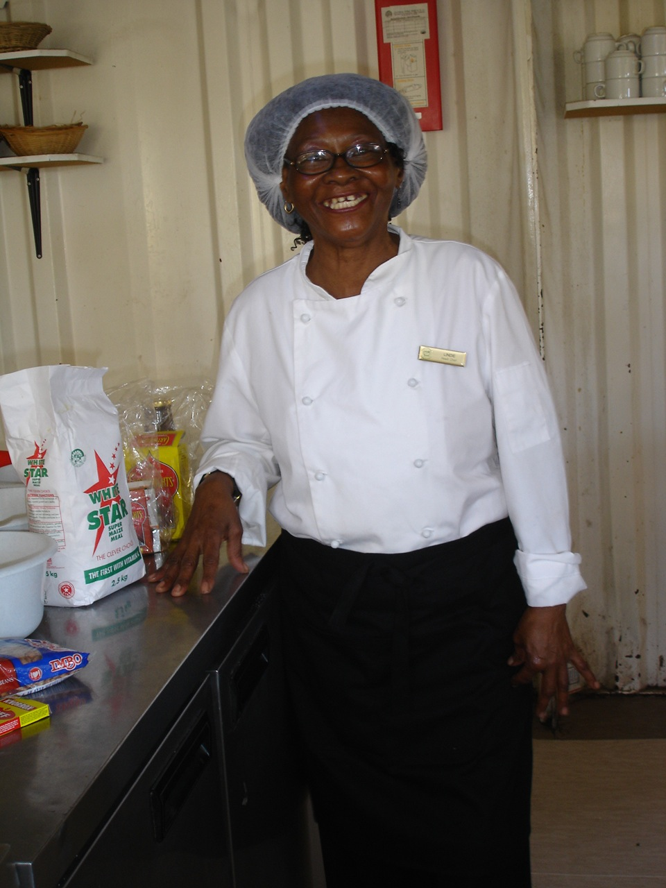 Mamma Lindy in her kitchen at Eziko