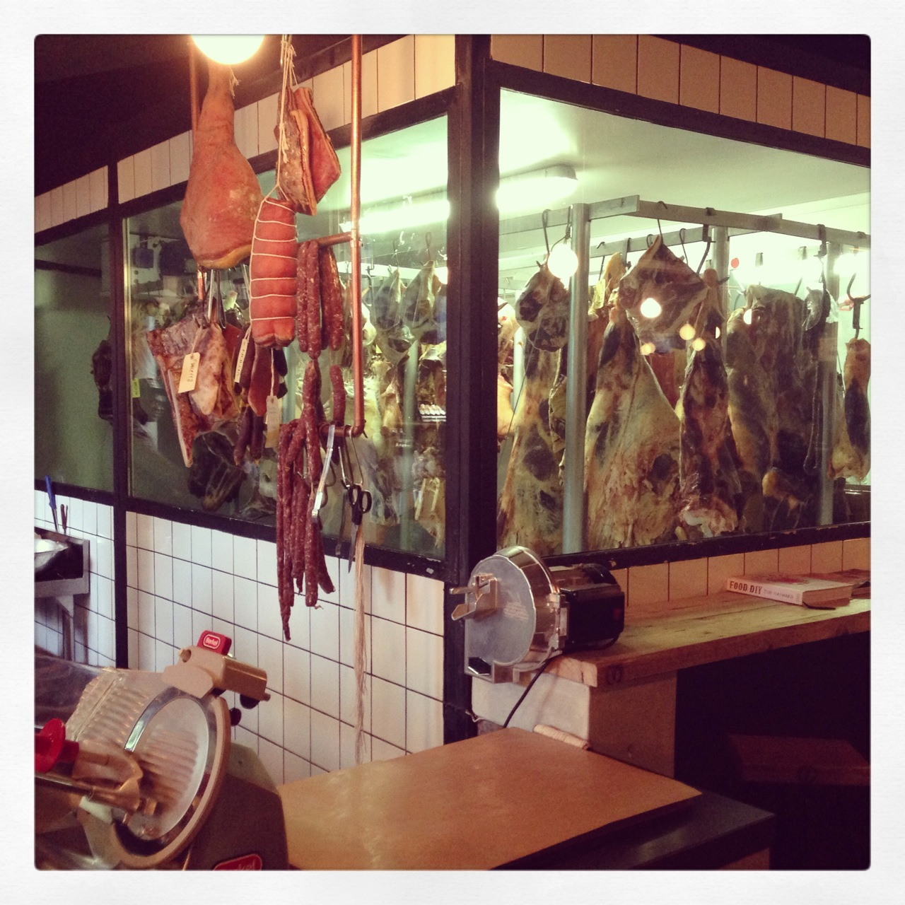 Frankie Fenners Meat Market during the day - and backdrop for Publik Wine bar at night